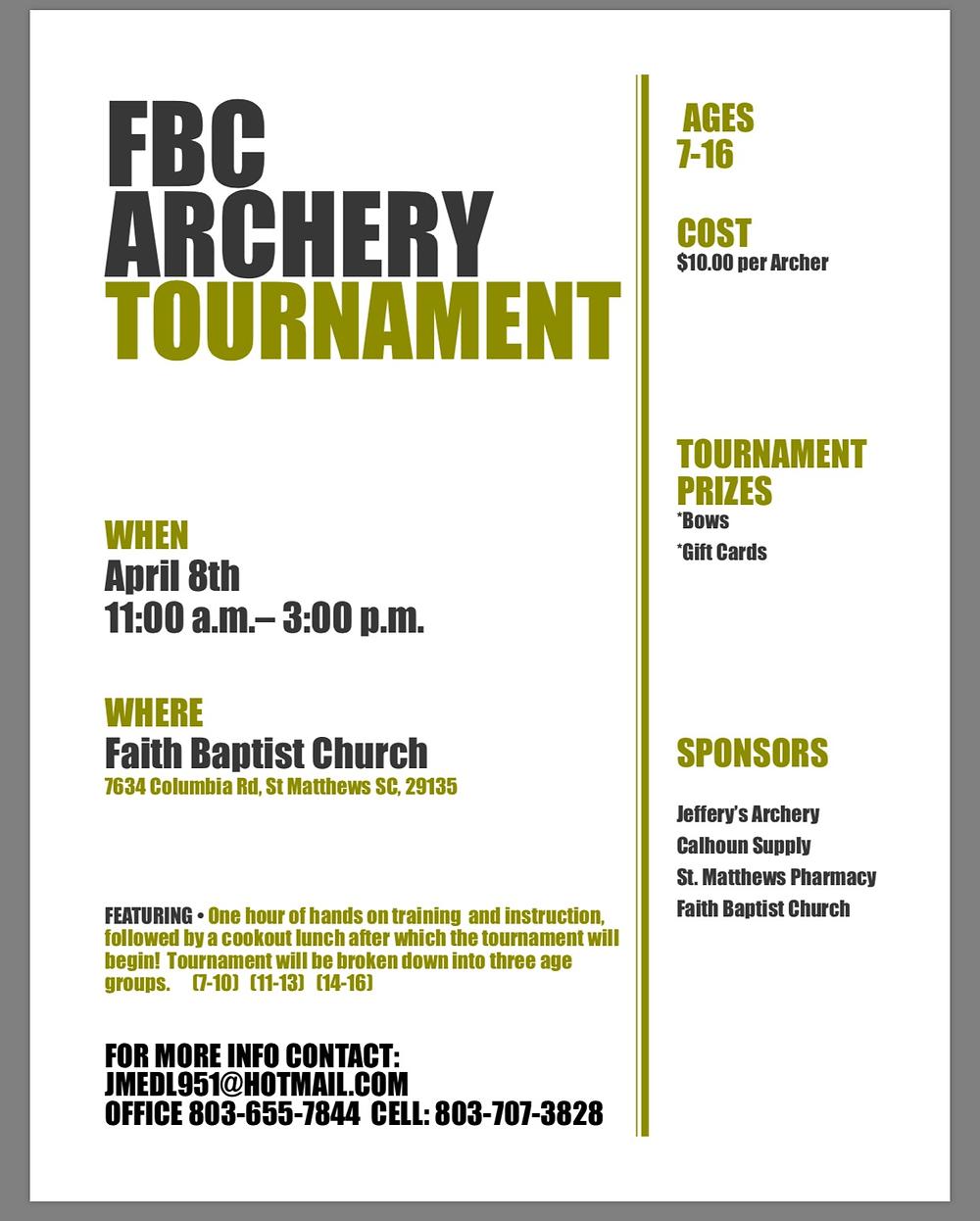 FBC Archery Tournament, Faith Baptist Church