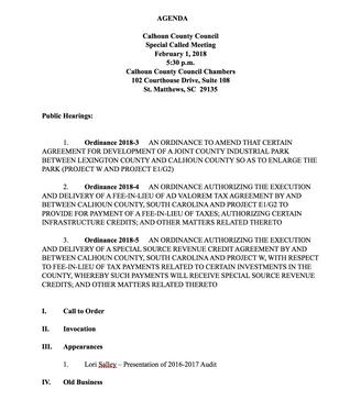 Calhoun County Council Agenda/Special Called Meeting - Thursday, February 1, 2018