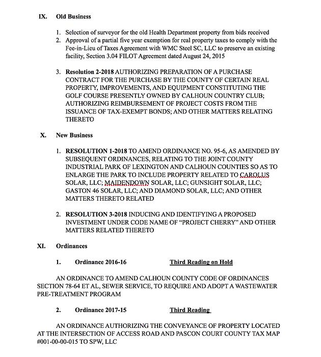 Calhoun County Council Agenda for Monday, January 8, 2018