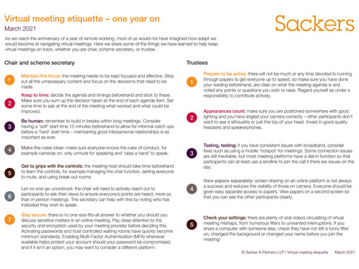 PRESS RELEASE - PRESS RELEASE - Sackers updates its virtual meeting guide – one year on