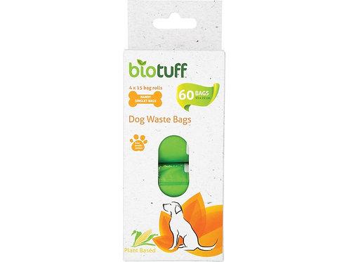 BIOTUFF Dog Waste Bags Refill 4 x 15 Bag Rolls - 60 Bags