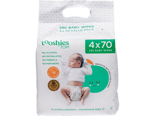 TOOSHIES BY TOM Pure Baby Wipes Value Pack - 4x70