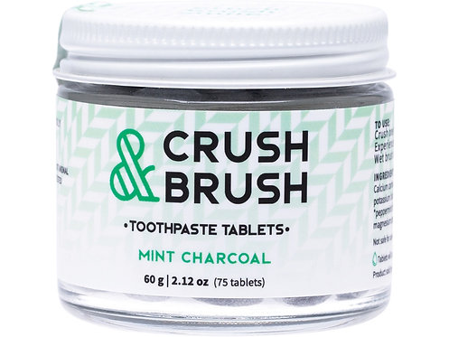 NELSON NATURALS Crush & Brush Toothpaste Tablets Mint Charcoal - 60g