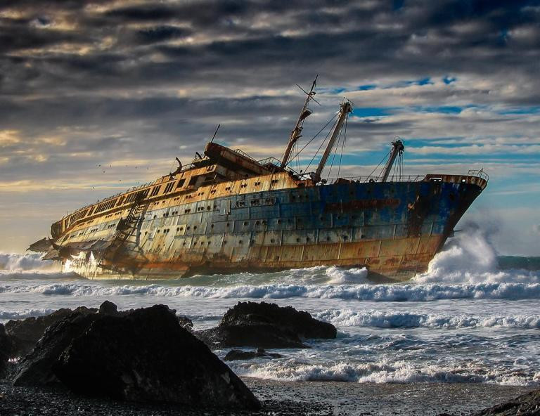 SS America - run aground off the Canary Islands
