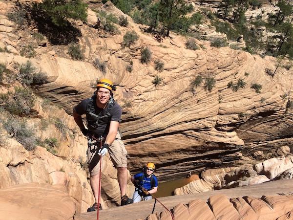 "Siblings Doug and Dave on the 165 foot ""big wall""."