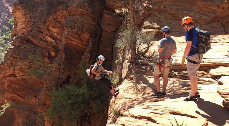 Liesl on the first rappel in Water Canyon