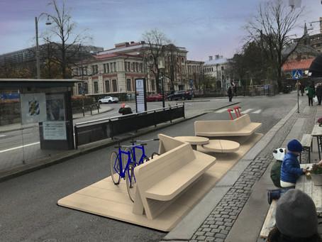 Multifunktionell byggsats för gatumöbler testas i Göteborg