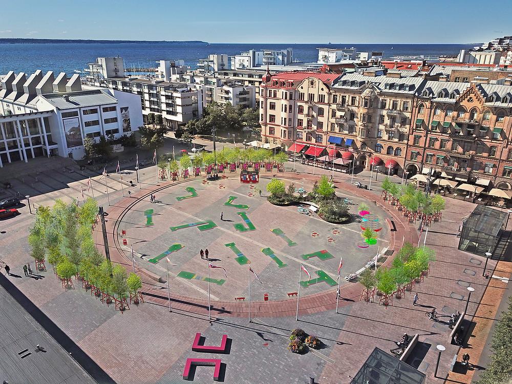 Sundstorget i Helsingborg får en park med golfbana.