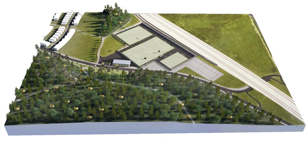 Den nya idrottsplatsen i Järvastaden i Solna får tre fotbollsplaner men även utegym och en aktivitetsyta för andra bollsporter.
