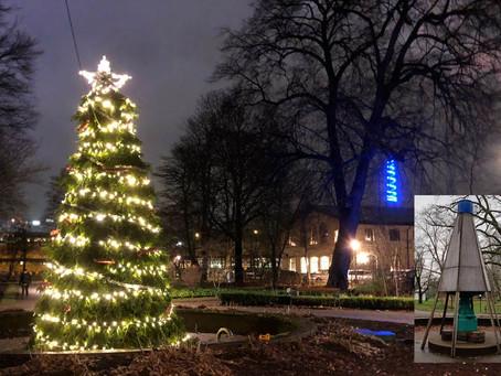 Trist skydd förvandlat till glittrande julgran