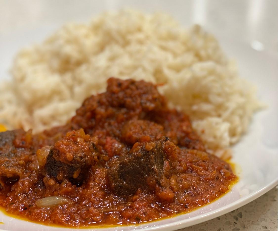 Plain Rice & Beef Stew
