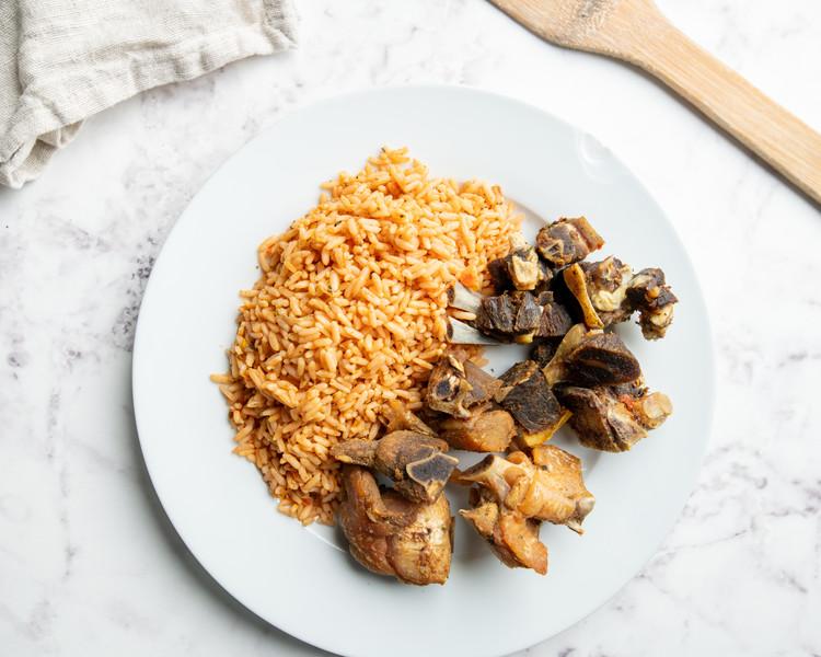 Jollof Rice & goat meat