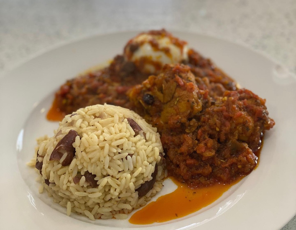 Ofada Stew with Rice & Beans