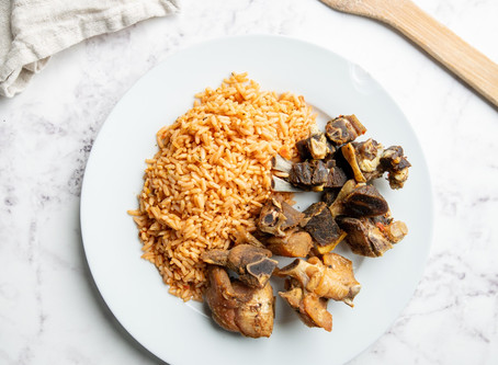 How To Prepare Jollof  Rice With Chicken/Goat Meat.