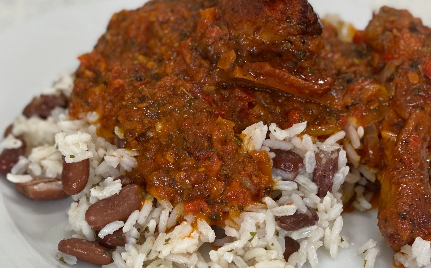 Rice & Beans with Stew