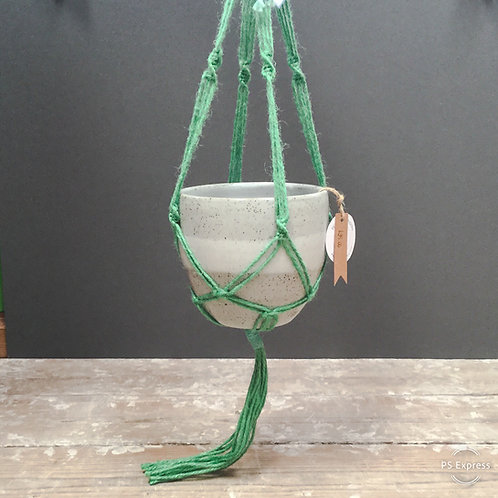 White speckle plant pot with green Macrame