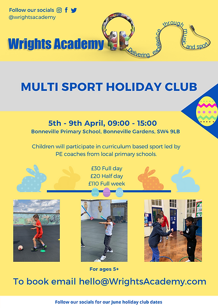 Wrights Academy Multi Sports Holiday Club Flyer