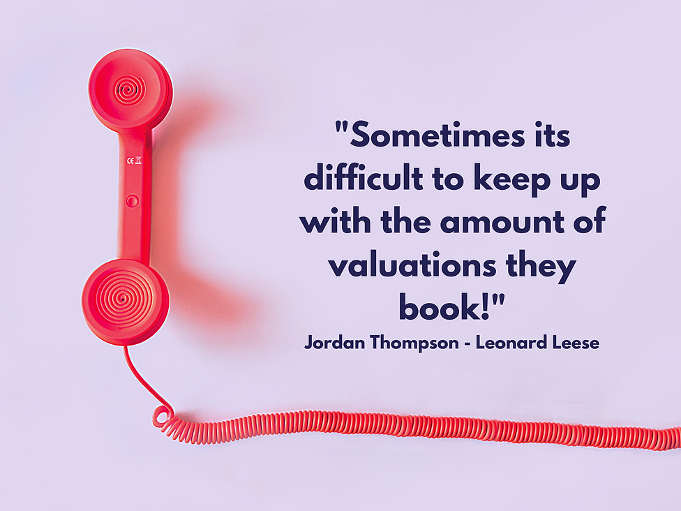 testimonial on the number of valuations booked in