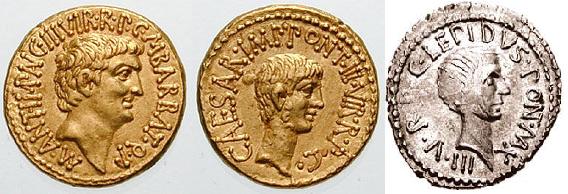 Na zdjęciu: od lewej Marek Antoniusz, Oktawian i Marek Emiliusz Lepidus - trzej triumwirowie.  źródło: Wikipedia, domena publiczna