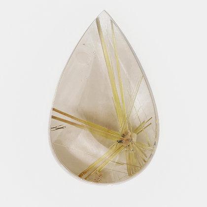 Gold Rutilated Quartz Pear shape Cabochon 34.10cts TU(MTS)