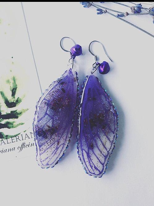 Lavender Butterfly Drop Earrings