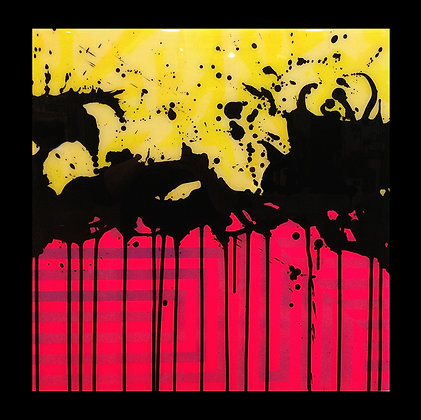 "Medium Splash Yellow Pink 24""x 24"""