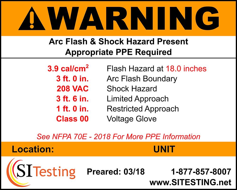 Arc Flash Sticker