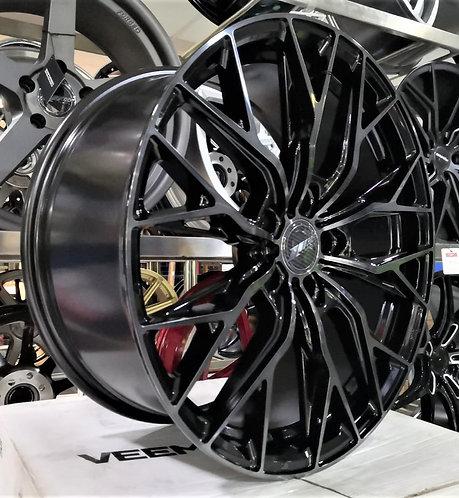 19x8.5 305Forged Rims Flow Technik FT118 Gloss Black Black Clear