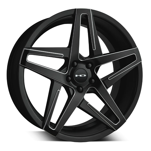 18x8.0 HPD Wheels Hairpin Satin Black With Milled Edges