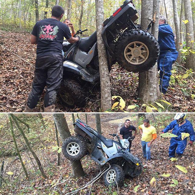 ATV flip into tree