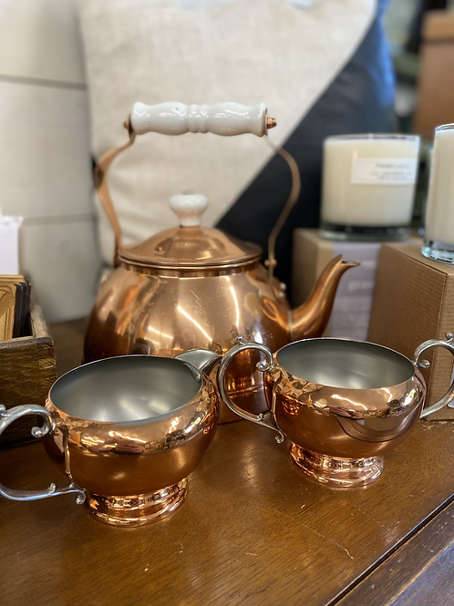 Antique Copper Kettle with Cream and Sugar