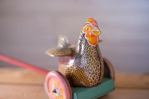Antique Chicken Tin Push Toy