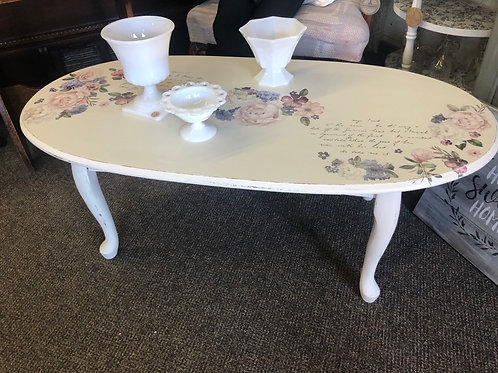 Queen Anne Floral Coffee Table F-447