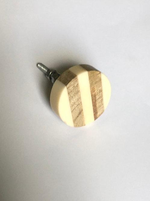 Wood and Ivory Round Knob