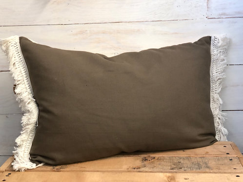 Olive Fringe Pillow -In The Woods
