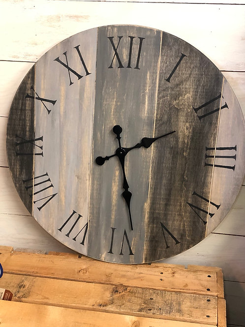 "24"" Grey Distressed Farmhouse Clock"