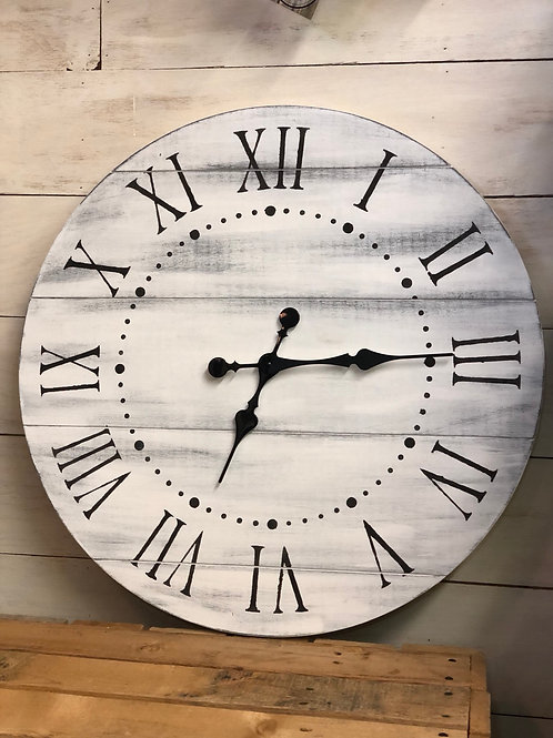 "24"" White Distressed Farmhouse Clock"