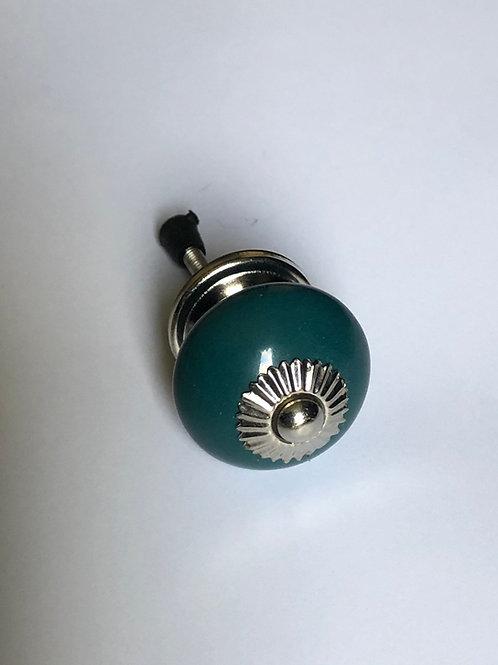 Dark Teal Roynd Ceramic Knob