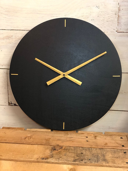 "16"" Modern Black and Gold Clock"
