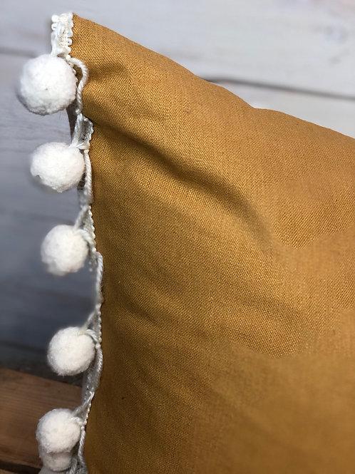 Mustard Pom Pom Pillow- Jagged Little Pillow