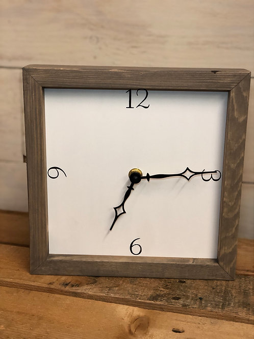 "10"" Square Clock white with grey frame"