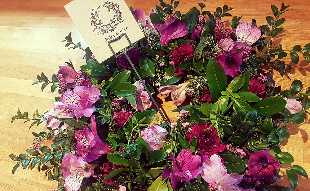 Purple sympathy wreath