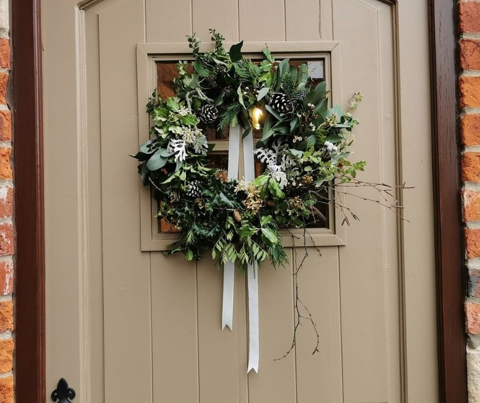 Beautiful Christmas wreath with lots of foliage