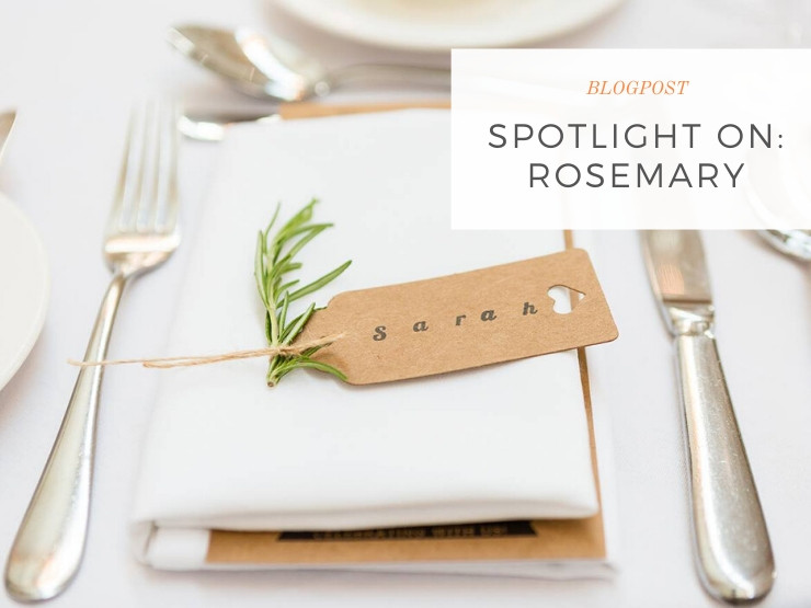 Sprig of rosemary as a wedding place setting