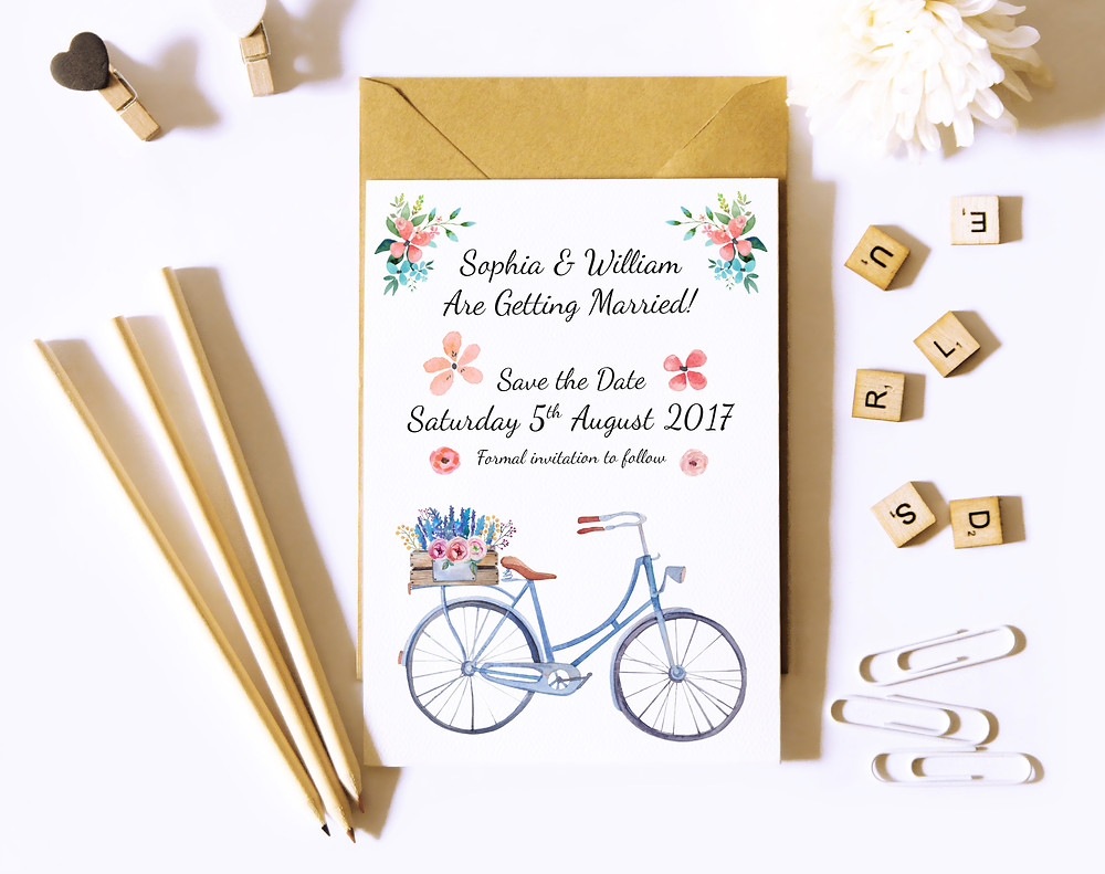 Save The Date card designed by Olly Banham