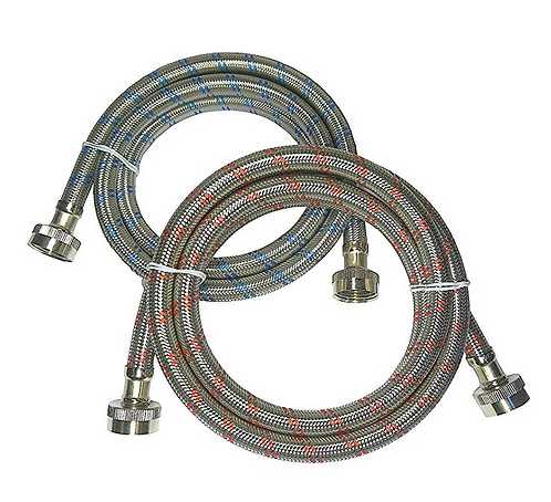 (6FT length) Stainless steel braided hot and cold washing machine hoses