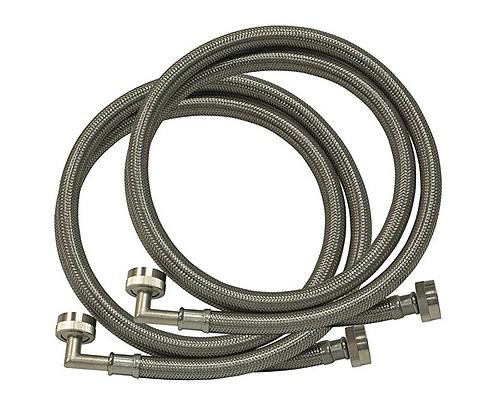 New: Pair of Stainless Steel Braided Hot and Cold Washing Machine Filler Hoses