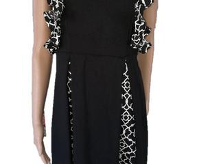 Black and White Linen Flare Dress