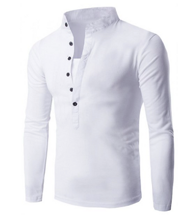Men's Long-sleeved Collerless Shirt