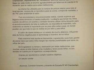 Agradecimiento escuela 45, Chamberlain, Tacuarembó